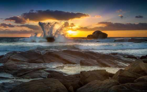 природа, morze, tapety, скалы, zachod, slonca, tapet, sztorm,