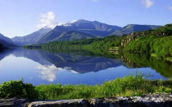 горы, landscape, природа, wales, ук, озеро, река, картинку, brynrefail, reki, великобритании,