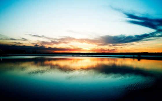 закат, soleil, coucher, озеро, fonds, дек, ecran, sur,