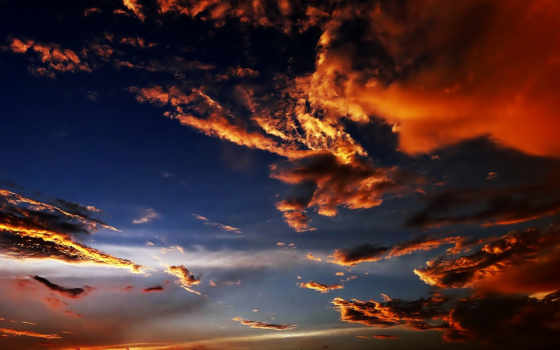 nuvens, сол, pôr, красивые, микс,