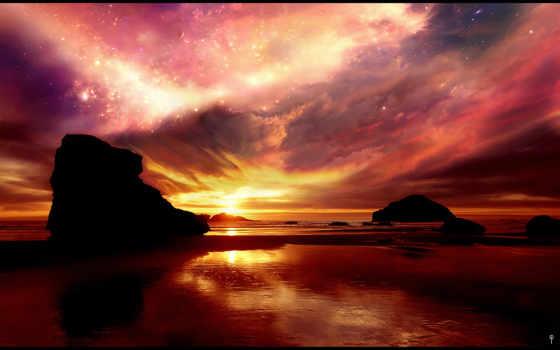 небо, море, ночное, телефона, телефон, закат, mobilnogo, анимация, со, морем,