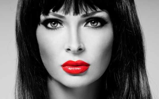 помаде, white, чёрно, красная, макияж, red, portrait, волосы, stock, стоковое,