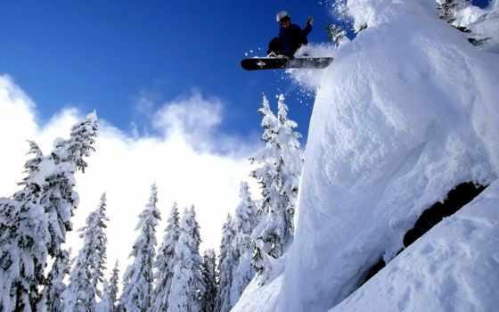 сноуборд, спорт, снег, экстрим, небо, лес, прыжок, сноубординг, sports, bild, просмотреть, картинка, фотографии,
