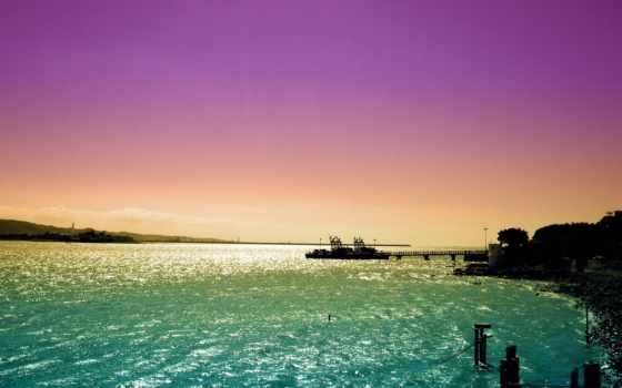море, закат, корабль