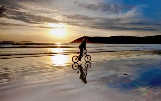 bmx, пляж, закат