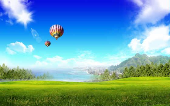 небо, поле, трава, aerial, мяч, trees, sun, oblaka, дек, зелёный, звездное,