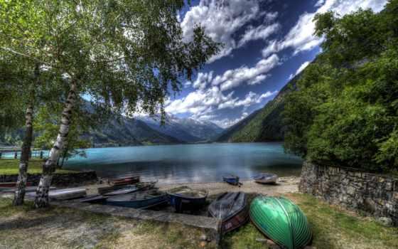 suisse, ecran, fonds, montagnes, lac, fond, poschiavo, arbres, paysage, bateau, paysages,