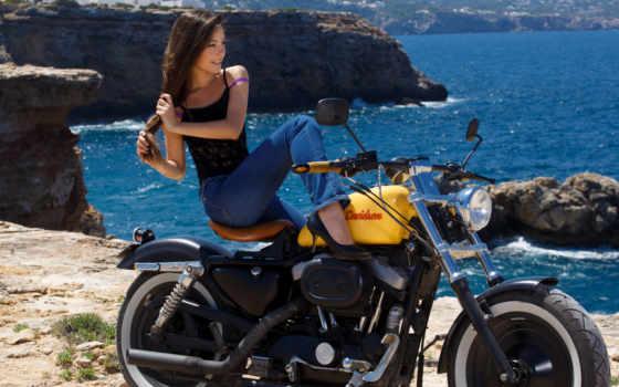 lorena, garcia, mountains, мотоцикл, природа, девушка, море, women,