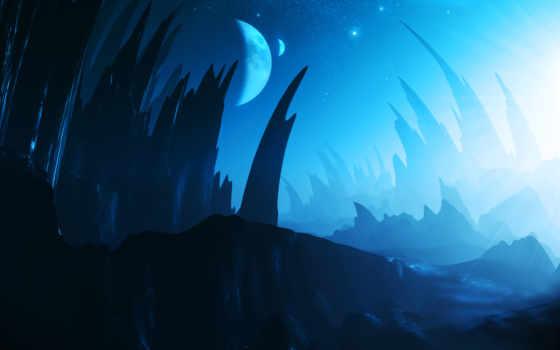 alien, planet, landscape, landscapes, planets, cosmos, stars, небо, спутник, звезды,