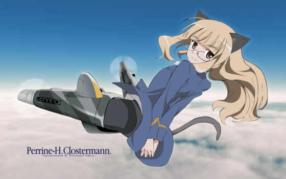 strike, witches, clostermann, perrine, animal, anime, glasses, ears,