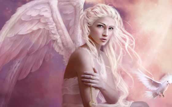 девушка, ангел, волосы