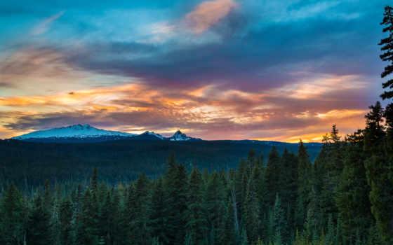 desktop, лес горы небо