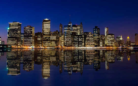 manhattan, skyline, ночь, desktop, new, york,