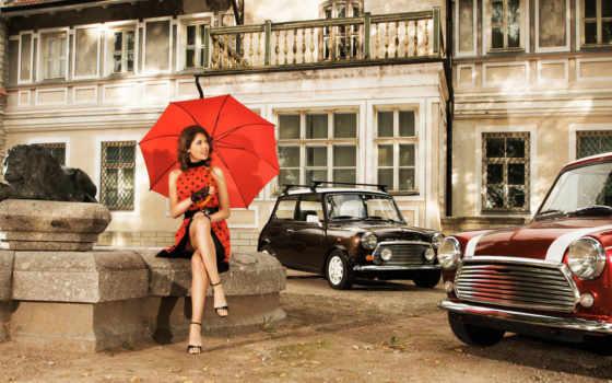 девушка, зонтик, зонтом, красным, платье, ретро, авто, красном, под, devushki, машины,