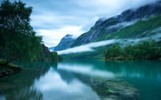 mountains, скандинавский, trees, норвегия, гладь, озеро, туман, loen, western, desktop,
