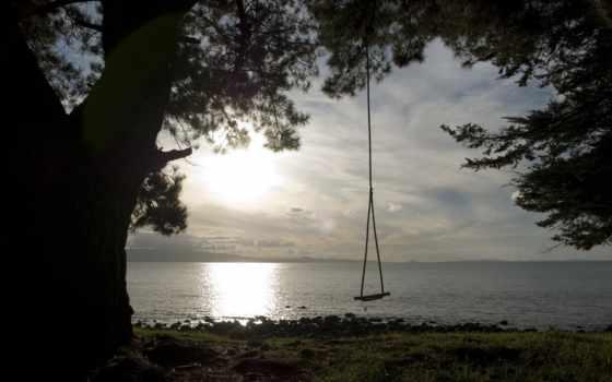 качели, дерево, небо, берег, дерева, озеро, берегу, пейзажи -, привязанные, ветке,