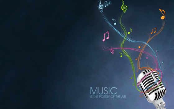 , микрофон, desktop, минимализм, ноты