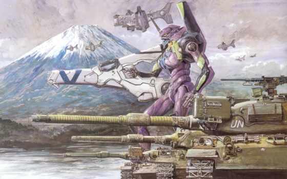 evangelion, genesis, neon, eva, меха, anime, танк, art, ева, танки,