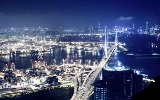 города, город, hong, ipad, фотообои, картинка, ночь, огни, ночного, небоскребы,