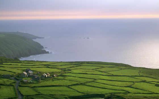 природа, пейзажи, cornwall, village, англия, oceanside, desktop, очаровательные, aerial, view, изумительные, недвижимость, англии, farm, rosemergy,