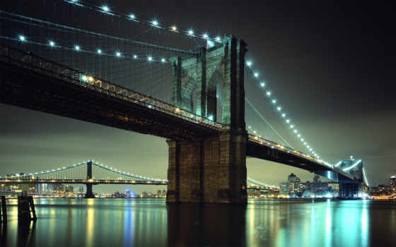 мост, бруклин, огни