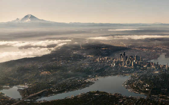 seattle, город, сша, low, washington, сиэтл, тегом, небоскребы, фотографий, aerial,