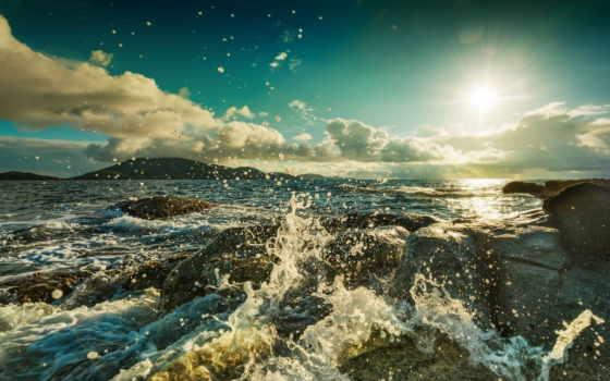брызги, море, ocean, камни, oblaka, waves, небо, surf, берег,