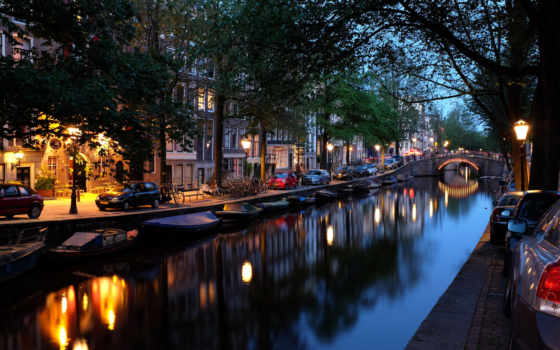 amsterdam, holland, дома, амстердама, города, мост, канал, ночь, машины, город,