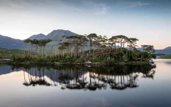 озеро, остров, rock, landscape, сумерки, natural, твой, оригинал, море