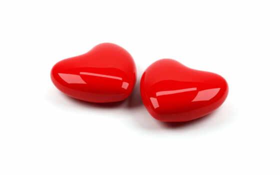 сердце, пара, любовь, блестящие, два, красные, фоне, белом, сердца, день, валентина, amor, amour,