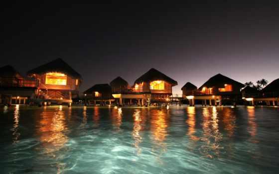 islands, maldives, ночь