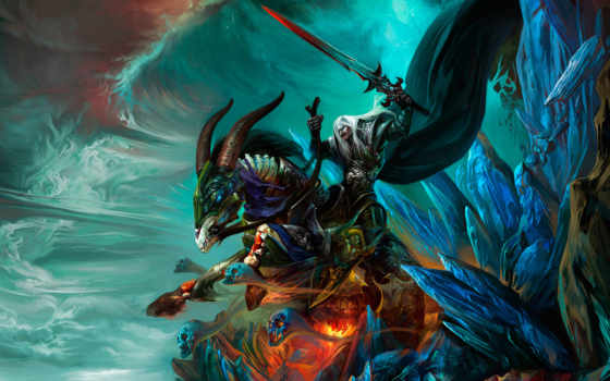 art, warcraft, world, лошадь, всадник, воин, скалы,