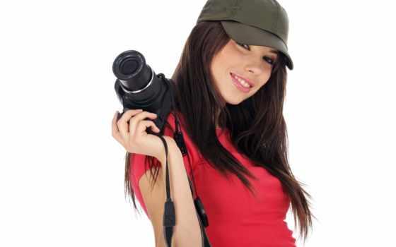 девушка, фотоаппаратом, красивая, улыбка, настроение, paparazzo, девушек, кепке, бейсболка,