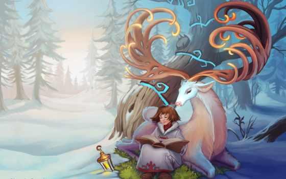 fantasy, art, девушка, аватар, wohnzimmer, прочитать, online, лань,