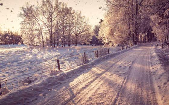 дорога, зима Фон № 6892 разрешение 1920x1080