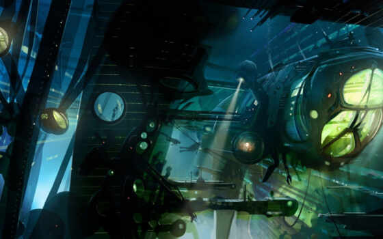 корабль, прожектора, аквалангисты, подводный, under, water, warship, картинка,