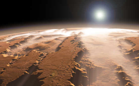 mars, каньон, солнце, планета, туман,