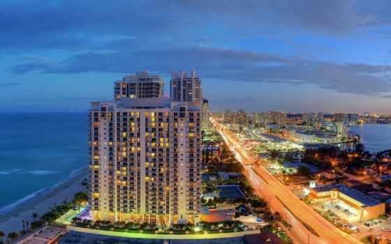 miami, florida, пляж, айлс, город, санни, ночь, панорама, ocean, isles, sunny,