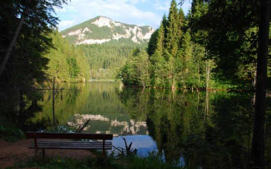 озеро, скамейка, горы