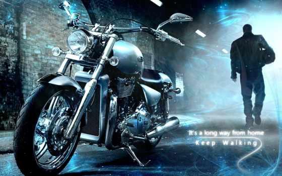 мотоцикл, мотоциклы, силуэт, когда, long,