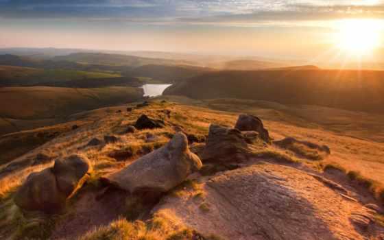 англия, природа, manchester, киндер, scout, landscape, закат,