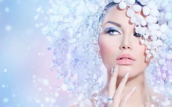 winter, красавица, макияж