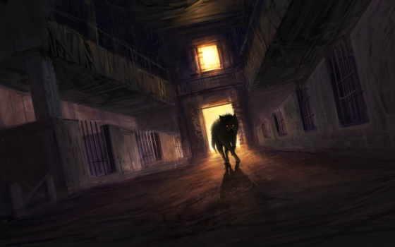 волк, art, моснтр, загон, заброшенность, комната, свет, страница, black, красными,