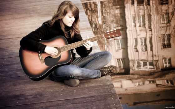 девушка, гитара, настроение, гитарой, руки, рисунок, красивые, гитаре,