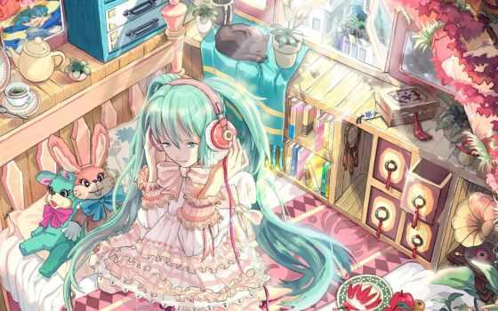 anime, vocaloid, miku