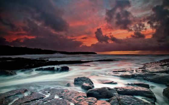 природа, камень, ocean, water, небо, море, побережье, атлантический, ireland, облако, смотреть