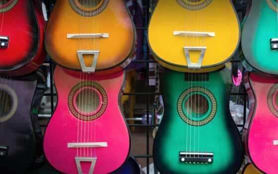 мексиканский, гитара, colorful, print, art, carol, canvas, музыка, san, texas, wood