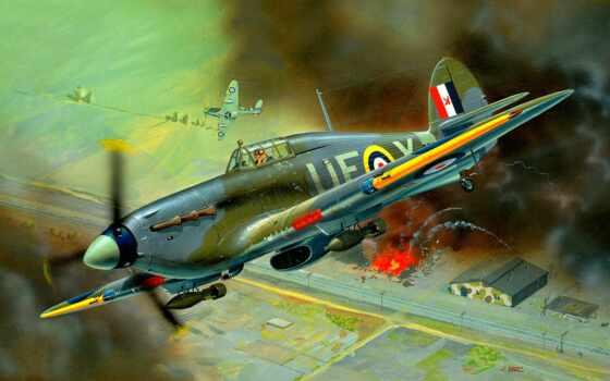 ураган, самолёт, hawker, модель, дым, взрыв, бомба, военный, toy, revell, тематика