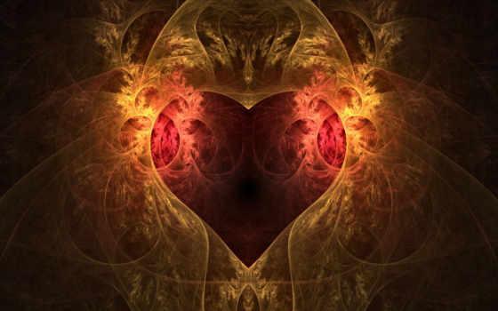 фракталы, красивые, сердца, виде, сердце,