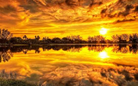 water, закат, отражение